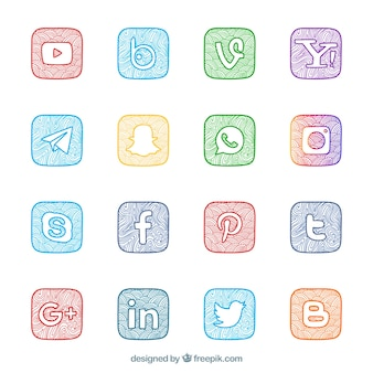 Collection of hand-painted social networking logos