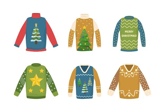 컬렉션 수제 크리스마스 스웨터. 못생긴 크리스마스 스웨터와 귀여운 완벽 한 패턴입니다. 즐거운 새해 착용. 파티 초대장, 인사말 카드, 웹 디자인에 사용할 수 있습니다. 그림, 분기 eps 10.