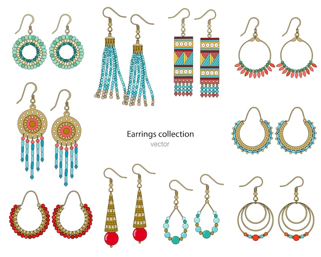 Collection of handmade earrings in ethnic style. color illustration isolated on a white background.