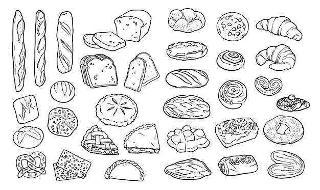 Raccolta di elementi disegnati a mano per prodotti da forno