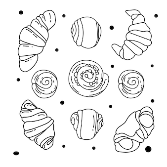 Collection of handrawn elements for bakery