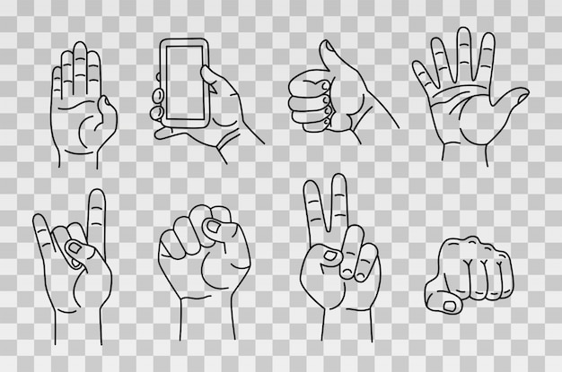 Collection of hands and gestures. hand drawn sketch isolated on transparent background.