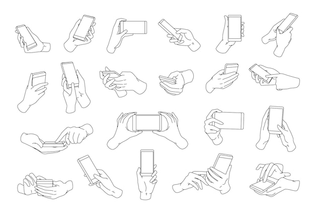 Collection of hands holding modern smartphone drawn with black contour lines