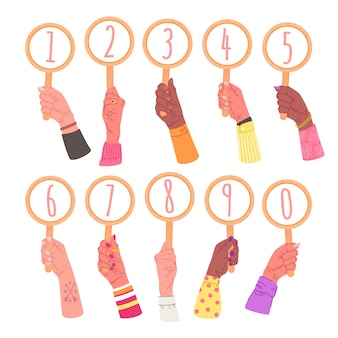 Collection of hands holding signs with numbers. bundle of male and female hands with round cards, elements isolated on white