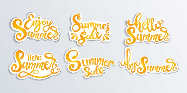 A collection of handwritten designs about summer