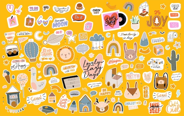 Collection of handwritten slogans or phrases and decorative design elements hand drawn in trendy doodle style