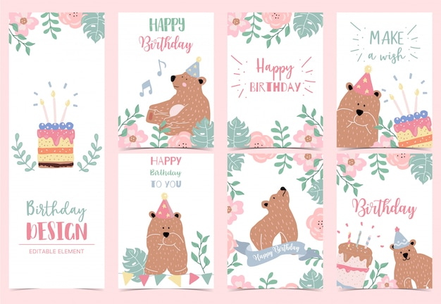 Collection of happy birthday card set with bear, cake, leaves, flower.