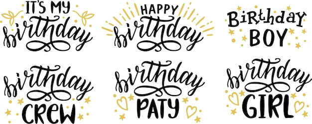 Collection of happy birthday lettering text