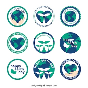 Collection of happy earth day stickers