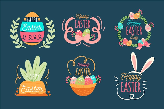 Collection of happy easter day badge flat design