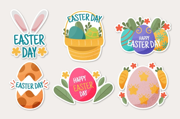 Collection of happy easter day badge hand drawn