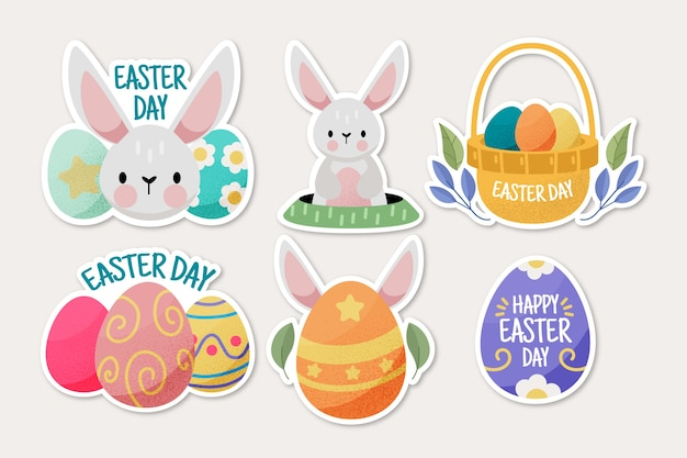 Collection of happy easter day label hand drawn