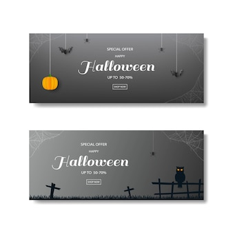 Collection of happy halloween sale banner