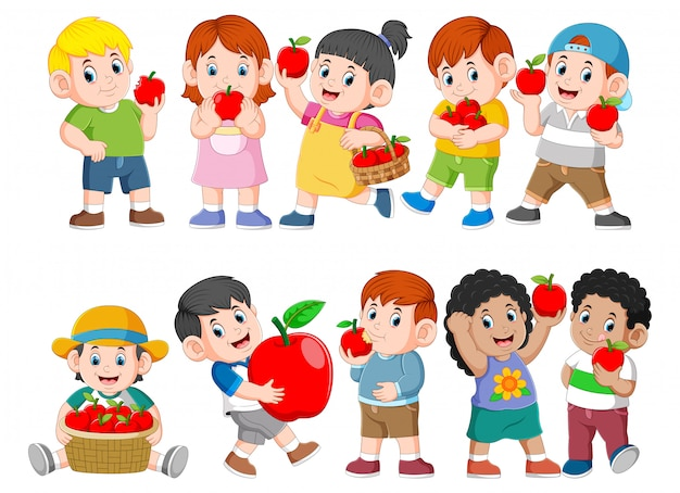 Collection of happy kids with fresh apple