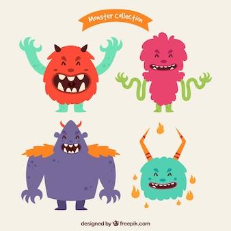 Collezione di personaggi di mostri felici