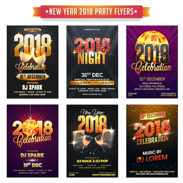 Collection of happy new year party flyers or banners.