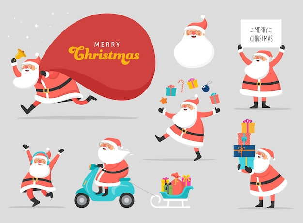 Collection of happy santa clauses, dancing, jumping, holding sign, driving on scooter. s
