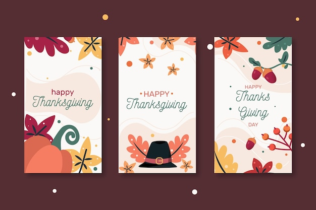 Collection of happy thanksgiving web banners