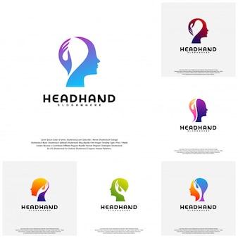 Collection head care logo, head intelligence logo designs concept