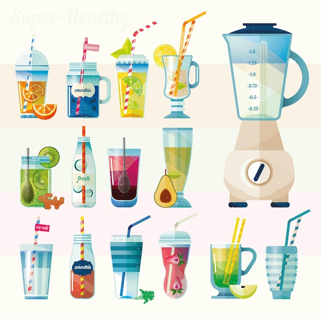 Collection of health drinks illustration