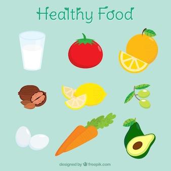 Raccolta di ingredienti sani