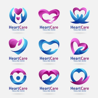 Collection of heart care logo design