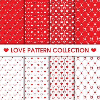 Collection of heart dots seamless pattern
