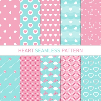 Collection heart shape seamless pattern