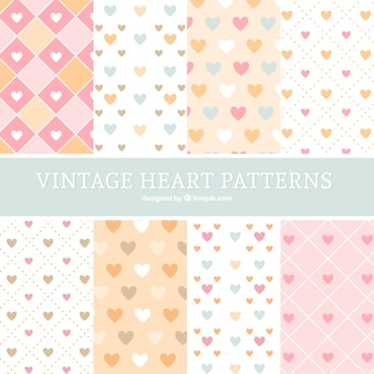 Collection of hearts patterns in flat design