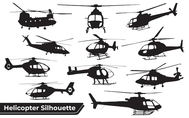 Collection of helicopter silhouettes in different positions