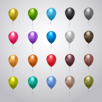 Collection of helium balloons colorful with ribbons, holiday decoration set