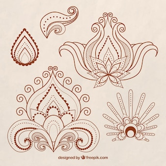 Collection henna tattoos, floral style