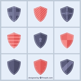 Collection of heraldic shields in flat design