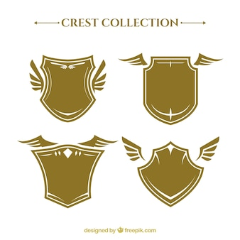 Collection of heraldic shields with wings