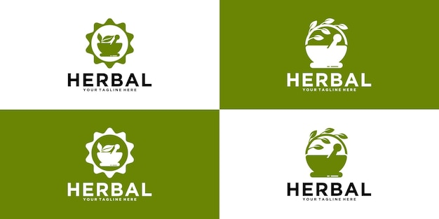 Collection of herbal ingredients logo design
