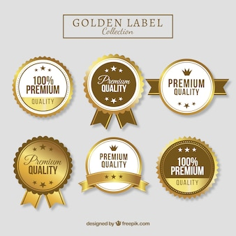 Collection of hig quality golden labels Premium Vector