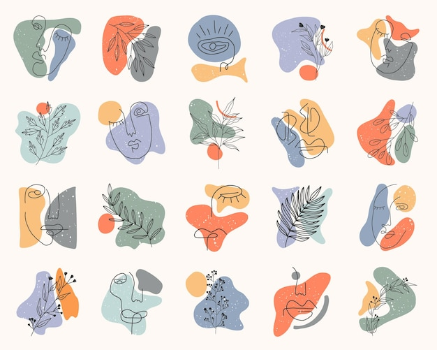 Collection of highlight story covers for social media. pastel hand drawn  elements and icons
