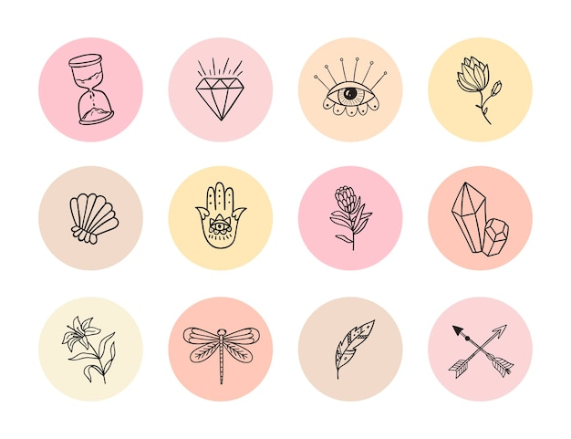 Collection of highlights stories icon for social media round vector composition with flowers