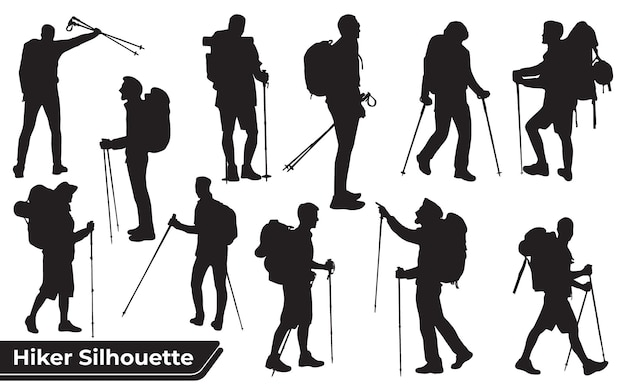 Collection of hiker in mountains silhouettes in different poses