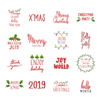 Collection of holiday typography vectors