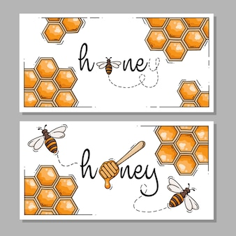 Collection of honey labels