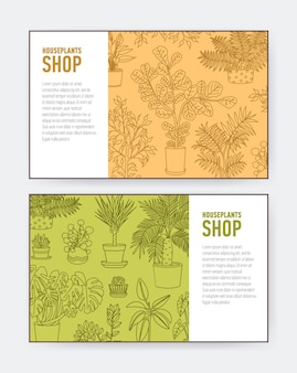 Collection of horizontal banner or flyer templates with potted plants drawn with contour lines