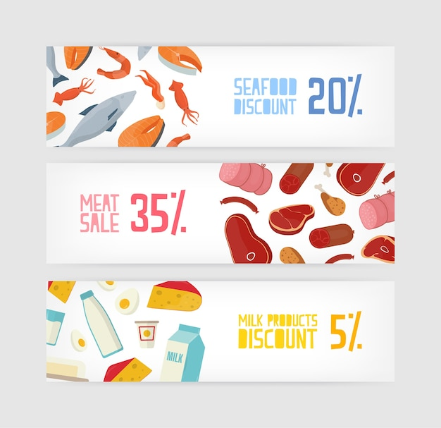 Collection of horizontal banner templates with fish, seafood, meat, milk or dairy products discount on white background
