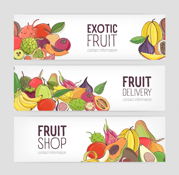 Collection of horizontal banners decorated with piles of ripe juicy exotic tropical fruits on white background and place for text. colorful illustration for vegan food delivery service promo.