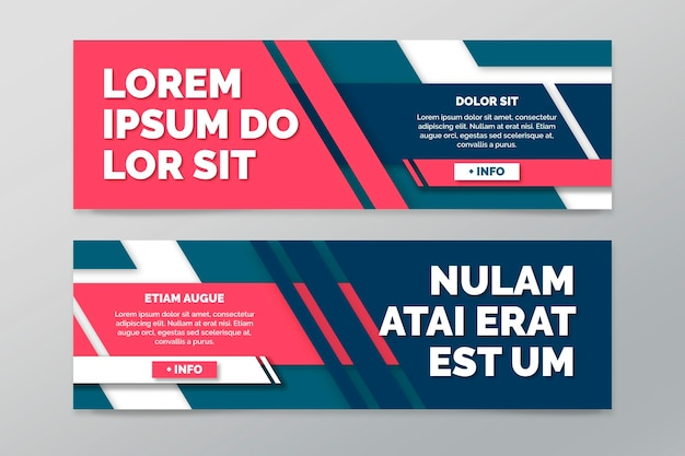 Collection of horizontal banners with geometric lines