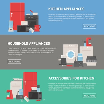 Collection of horizontal banners with household and kitchen appliances, accessories, utensils, electronic and manual tools and place for text. modern colorful   illustration in flat style.