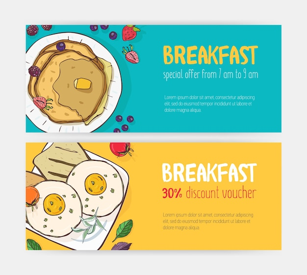 Collection of horizontal discount voucher or coupon templates with delicious breakfast meals lying on plates