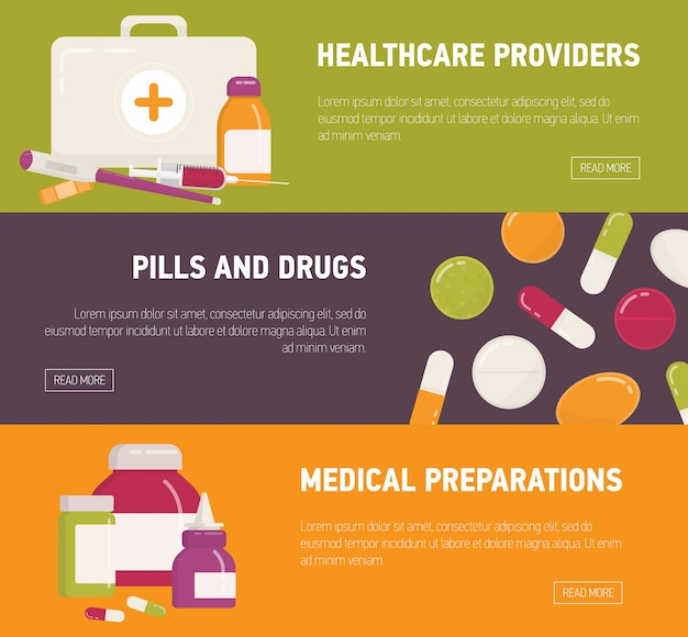 Collection of horizontal web banner templates with first aid kit, pills, medicines, medications and medical tools. flat colorful illustration for online drugstore or pharmacy advertisement