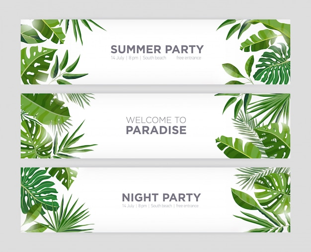 Collection of horizontal web banner templates with green tropical foliage of exotic jungle plants and trees and place for text