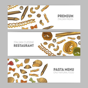 Collection of horizontal web banner templates with various types of raw pasta hand drawn on white background - spaghetti, farfalle, conchiglie, rotini. illustration for italian restaurant.
